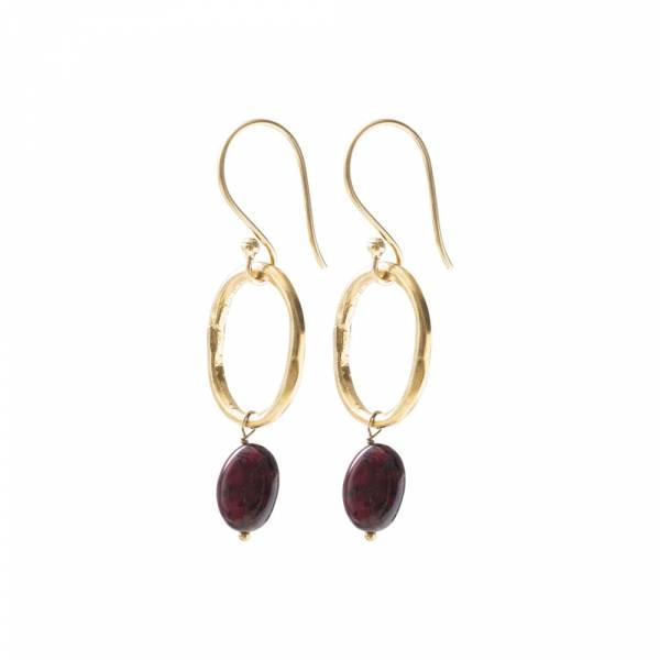Graceful Garnet Gold Earrings