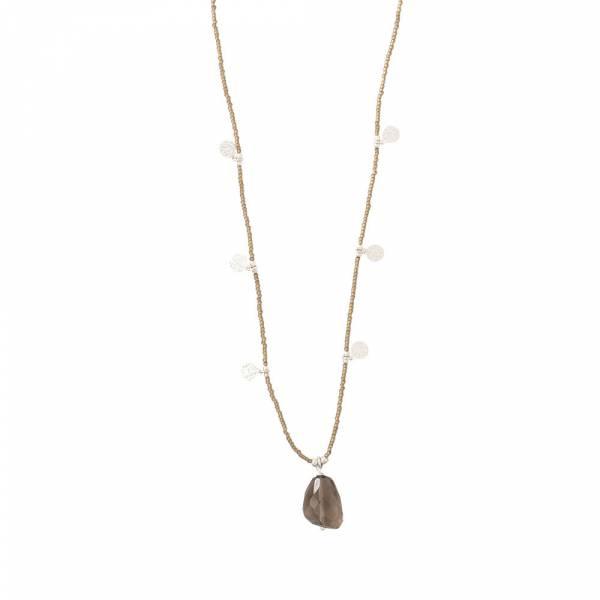 Charming Smokey Quartz Silver Necklace