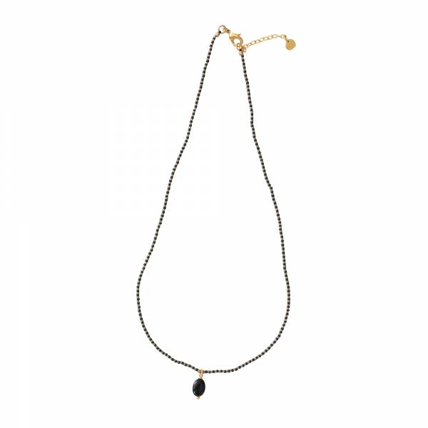 Magical Schwarzer Onyx Gold Halskette