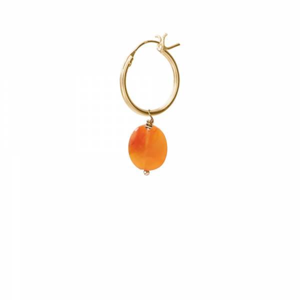 Carnelian Gold Hoop Earring