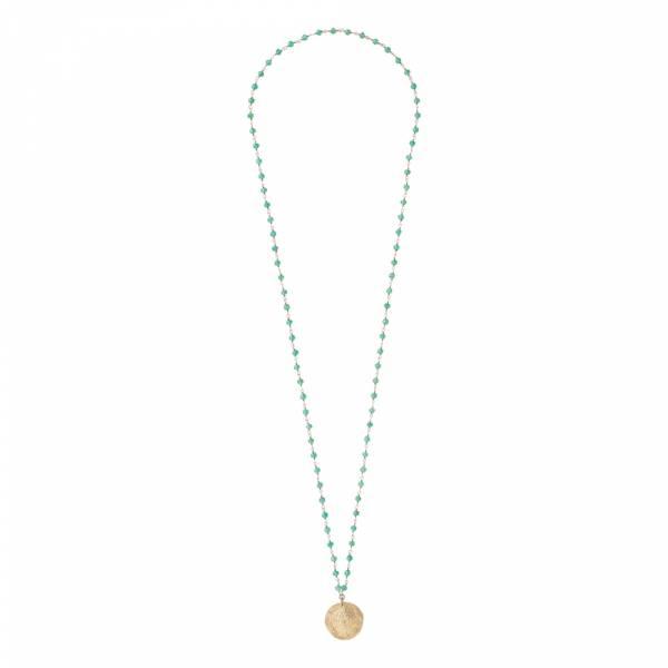 Rosary Aventurine Tree Gold Necklace