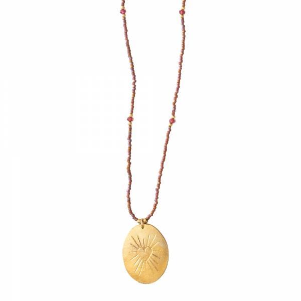 Swing Garnet Gold Necklace