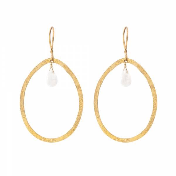 Ellipse Moonstone Gold Earrings