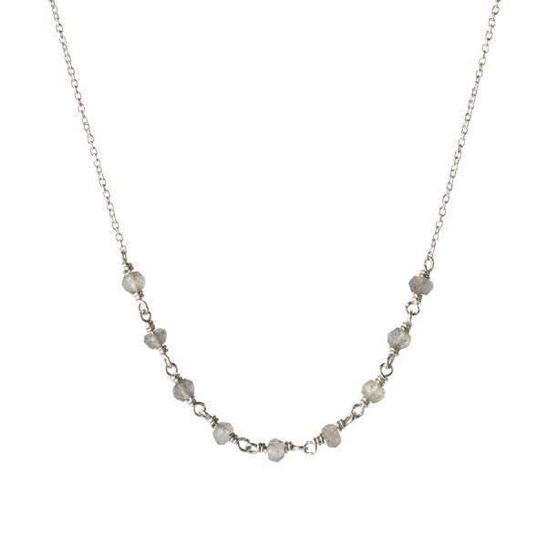 Tiny Labradorite sterling silver necklace