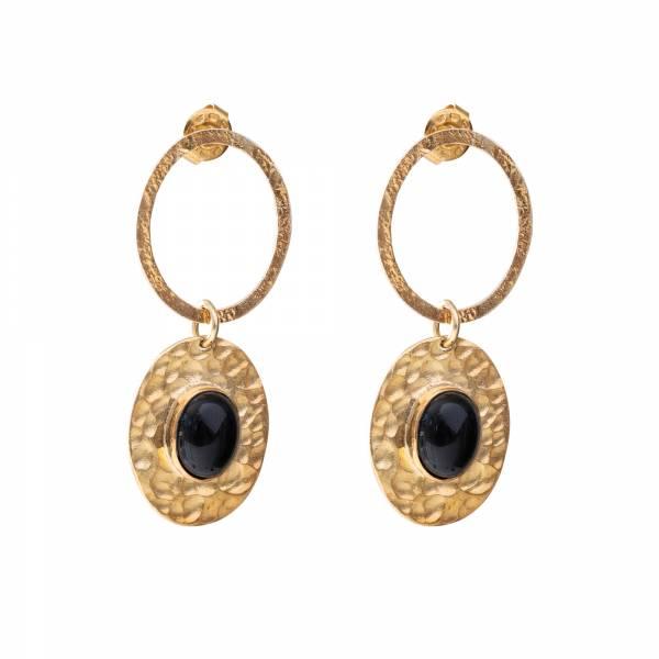 Thankful Black Onyx Gold earrings