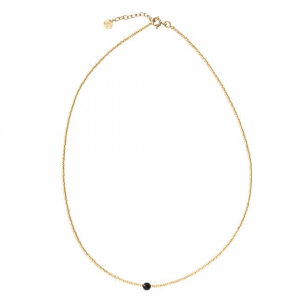 Flora Black Onyx Gold Necklace