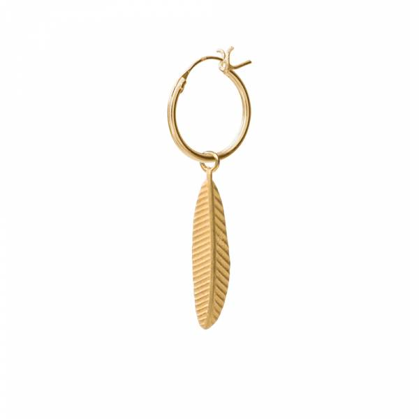 Feather Sterling Silver Gold-Plated Hoop Earring