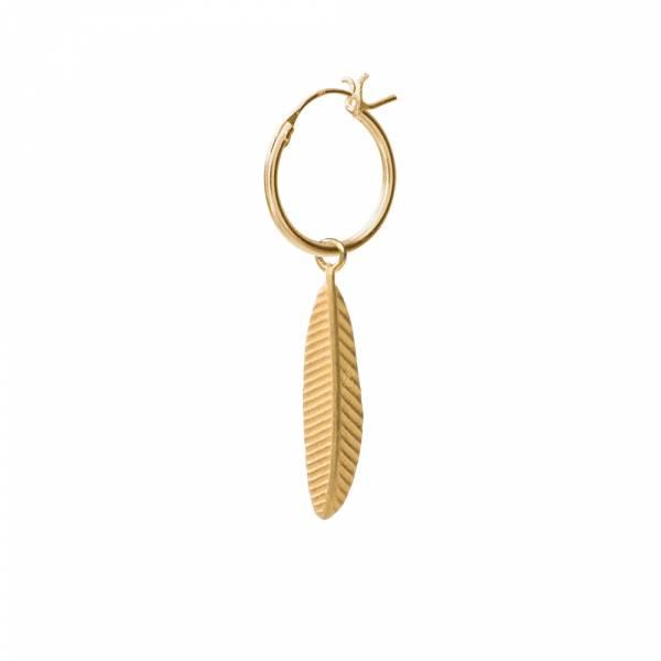 Feder Sterlingsilber vergoldet Ohrring