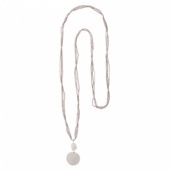 Blush Rose Quartz Hamsa Silver Necklace