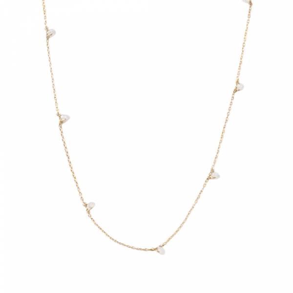 Mini Mondstein Sterlingsilber vergoldete Halskette
