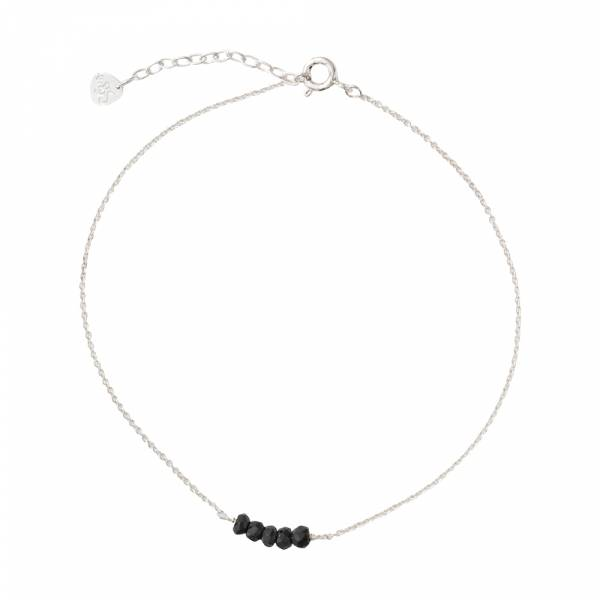 Cute Black Onyx Sterling Silver Anklet