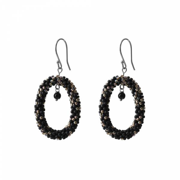 Faith Black Onyx Silver Earring