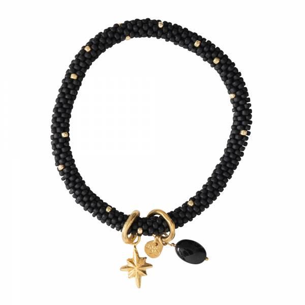 Jacky multi color Schwarzer Onyx Gold Armband