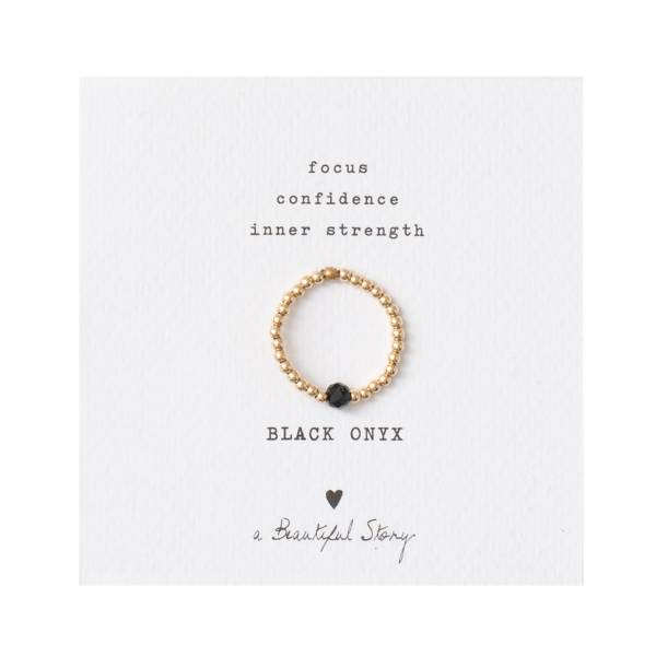 Sparkle Black Onyx Gold Ring M/L