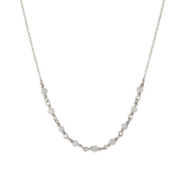 Tiny Blauwe Agaat sterling zilver ketting