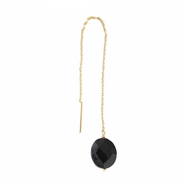 Elegant Black Onyx Sterling Silver Gold-Plated Earring