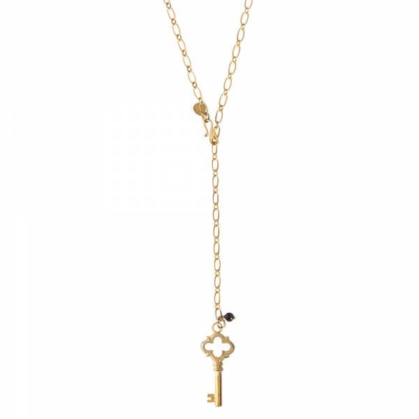 Comfort Schwarzer Onyx Gold Halskette