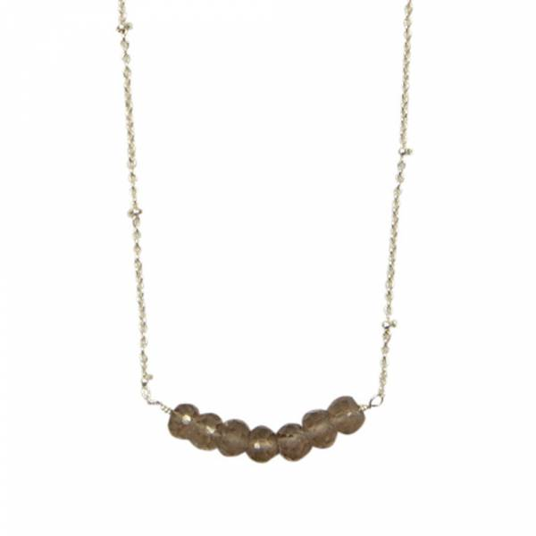 Bliss Smokey Quartz Silver Necklace