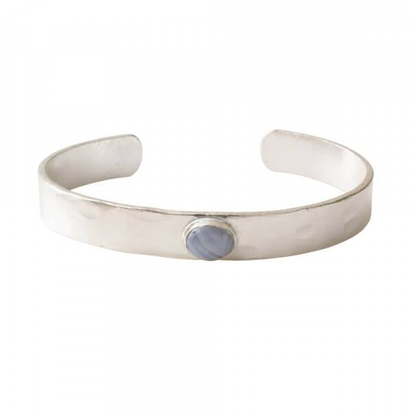 Liberty Blue Lace Agate Silver Bracelet