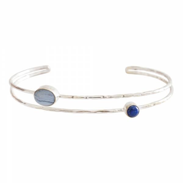 Birthday Lapis Lazuli Blue Lace Agate Silver bracelet