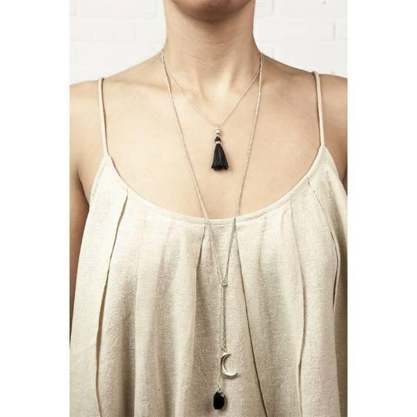 Magic Black Onyx silver necklace