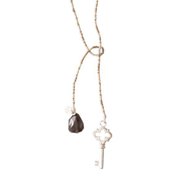Nova Smokey Quartz Silver Necklace