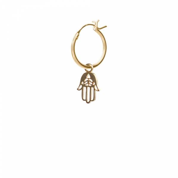 Hamsa Sterling Silver Gold-Plated Hoop Earring