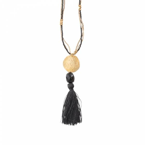 Easy Black Onyx Gold Necklace