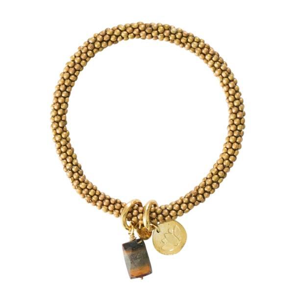 Jacky Tiger Eye Lotus Gold Bracelet