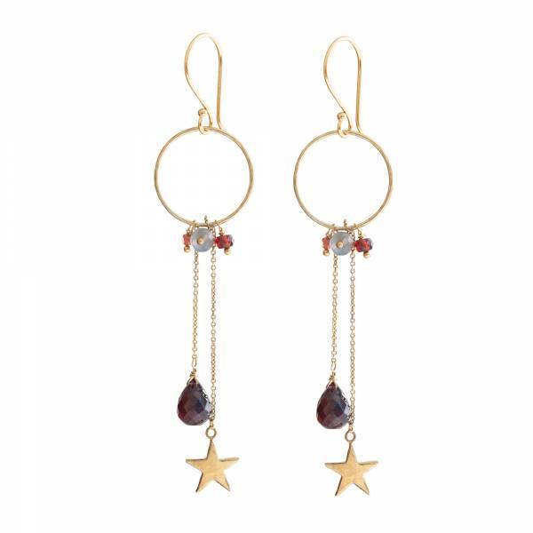 Festivity Garnet Labradorite Gold earrings