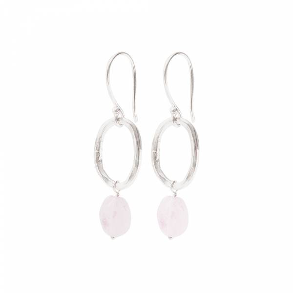 Graceful Rose Quartz Silver Earrings