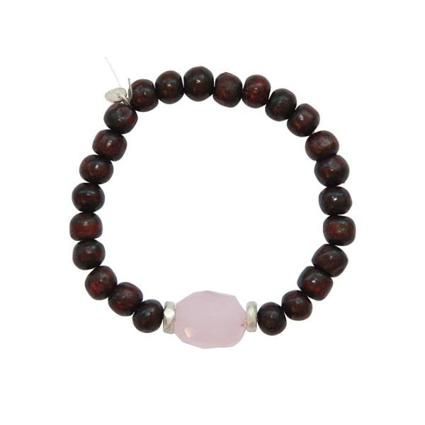 Mala Rose Quartz Rose wood bracelet