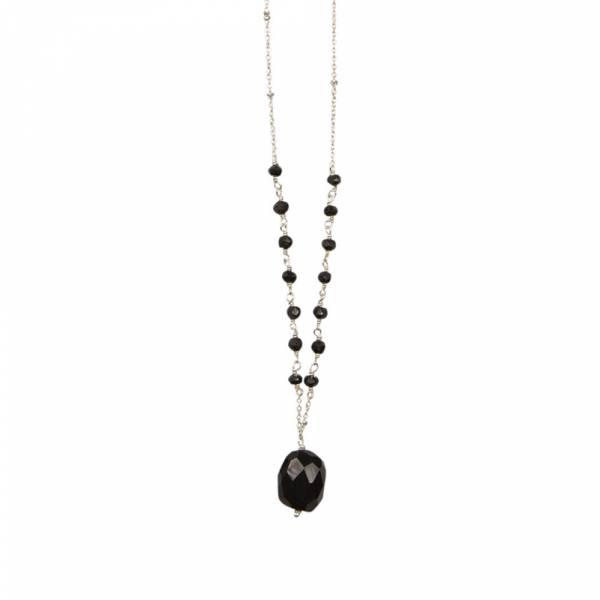 Festive Zwarte Onyx zilver ketting