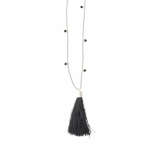Luminous Schwarzer Onyx Silber Halskette