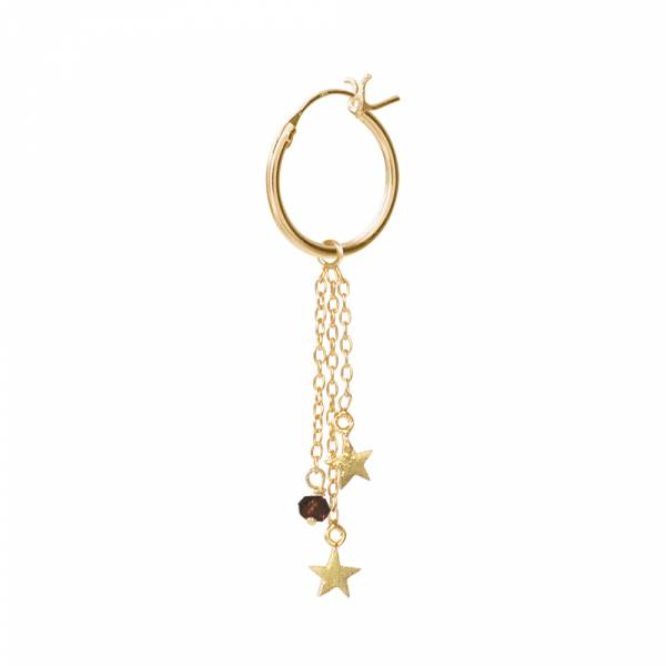 Stars Black Onyx Sterling Silver Gold-Plated Hoop Earring
