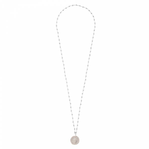 Rosary Blauer Achat Pusteblume Silber Halskette