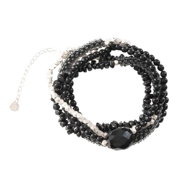 Superwrap Schwarzer Onyx Silber Armband