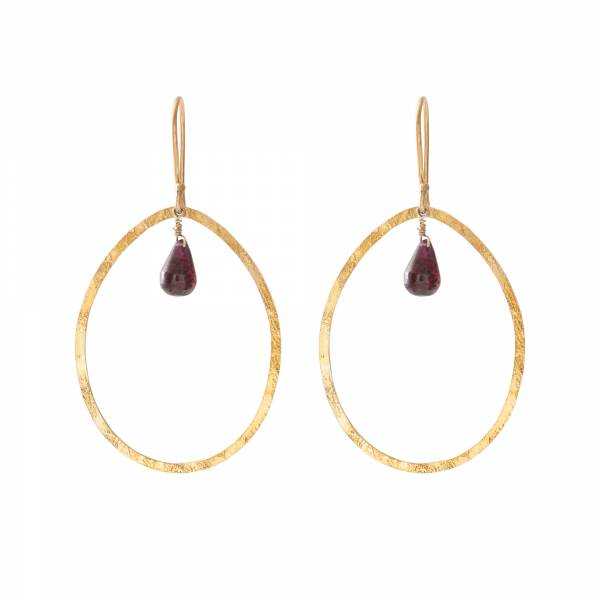 Ellipse Garnet Gold Earrings