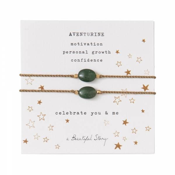 Gemstone Card You & Me Aventurine Gold