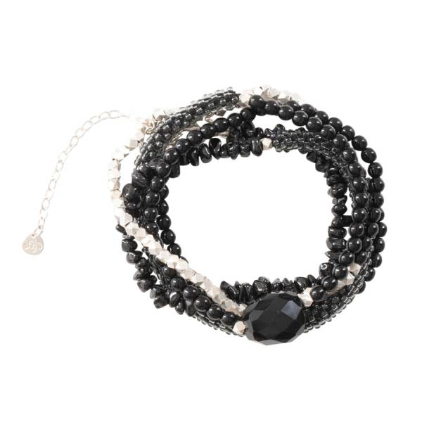 Superwrap Black Onyx Silver Bracelet