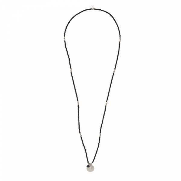 Truly Schwarze Onyx Mond Silber Halskette