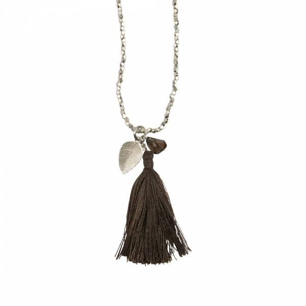 Bloom Smokey Quartz Leaf Silver Necklace