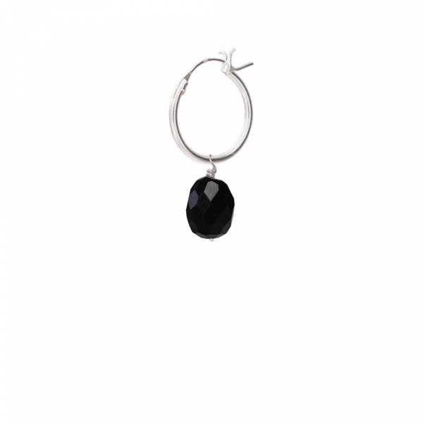 Black Onyx Sterling Silver Hoop Earring