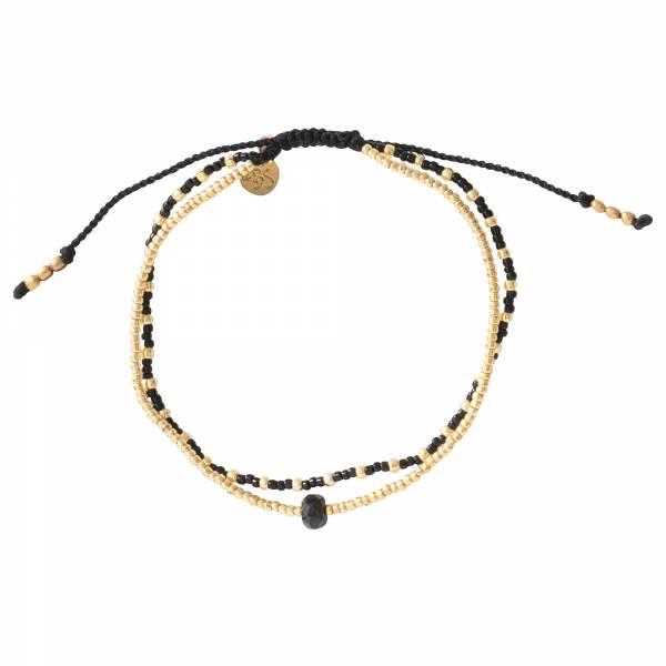 Friendship Zwarte Onyx Goud Armband