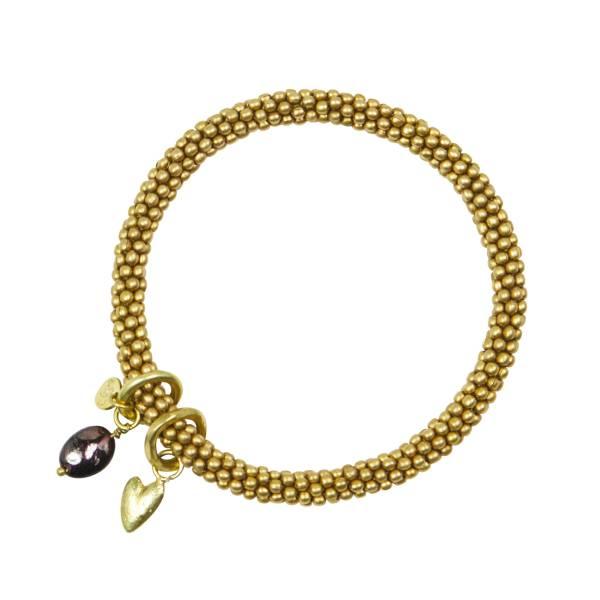 Jacky Garnet Heart Gold Bracelet