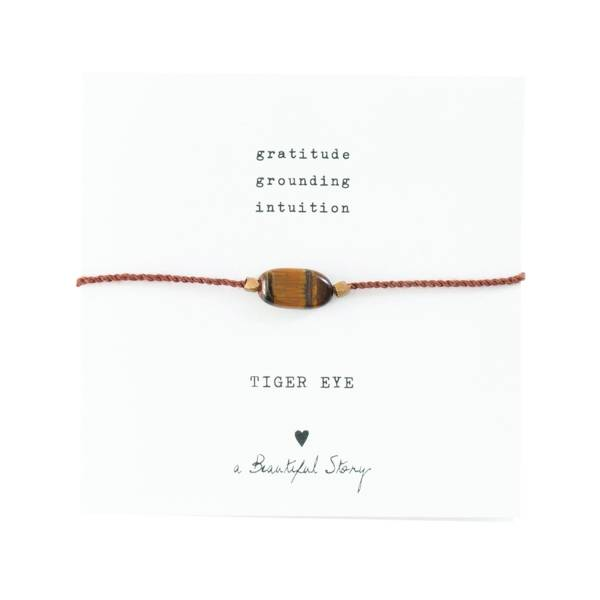 Gemstone Card Tiger Eye Gold Bracelet