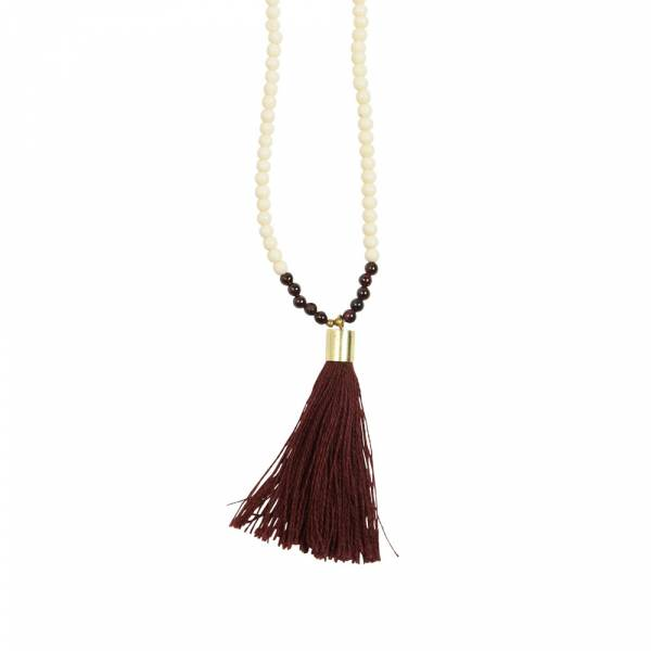 Mala Garnet white bone necklace