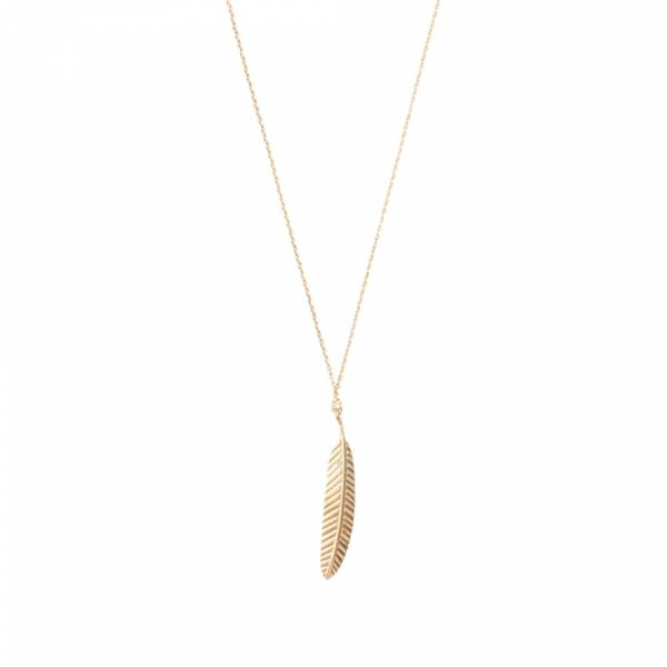 Delicate Feather Sterling Silver Gold-plated Necklace