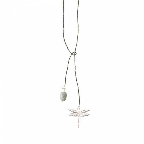 Nova Labradorite Dragonfly Silver Necklace