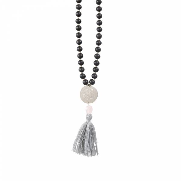 Satya Rosenquarz Blume des Lebens Silber Halskette